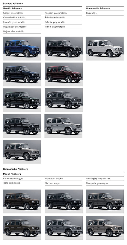 Colour Options for AMG G 63