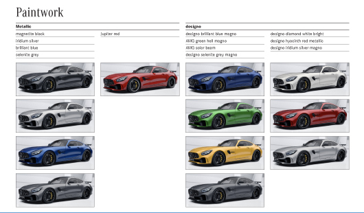 Colour Options for Mercedes AMG GT R