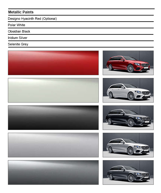 Color options for Mercedes E class All Terrain