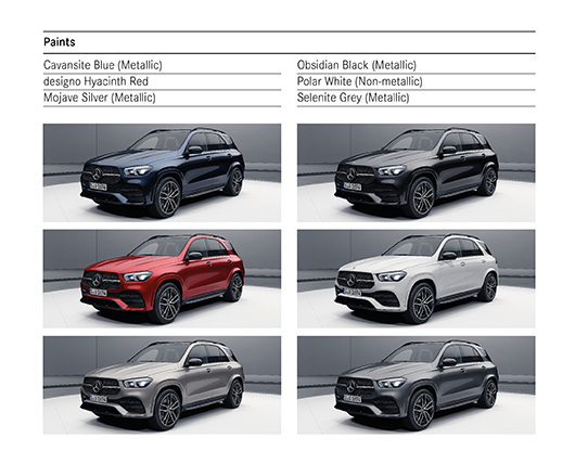 Colour Options for Mercedes GLE