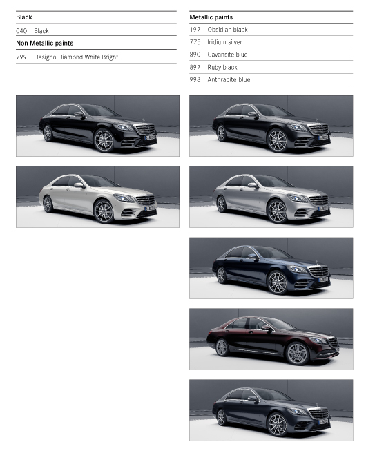 Colour Options for Mercedes S class